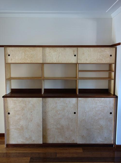 Custom made cabinet in Tasmanian blackwood and birch ply