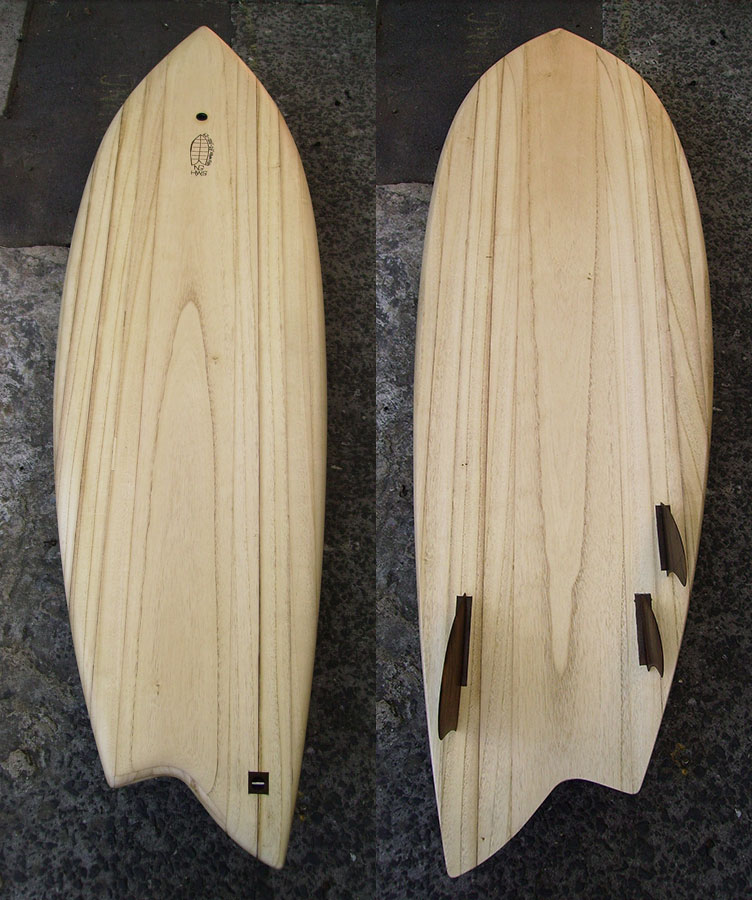 Hollow wooden surfboard