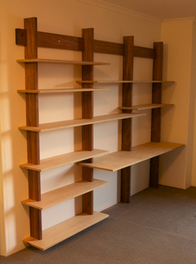 Custom made cantilevered bookshelves