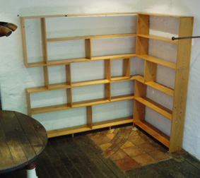 Shelves in Oregon with satin clear finish