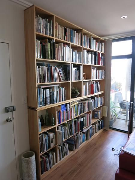 David's kauri pine bookshelves