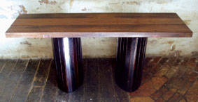 Hall table with plywood legs and hardwood top, finished with Japan Black