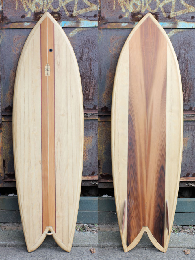 Custom made hollow wooden surfboard