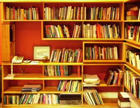 Custom made bookshelves, kauri pine finished with Danish oil
