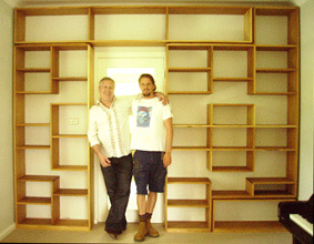 Custom made bookshelves in kauri pine