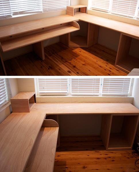 Custom made plywood sound desk