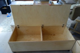 birch plywood storage bench, inside view