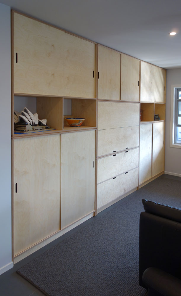 Custom made wall unit in birch Ply