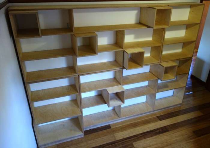 Custom made shelves with insert cubes