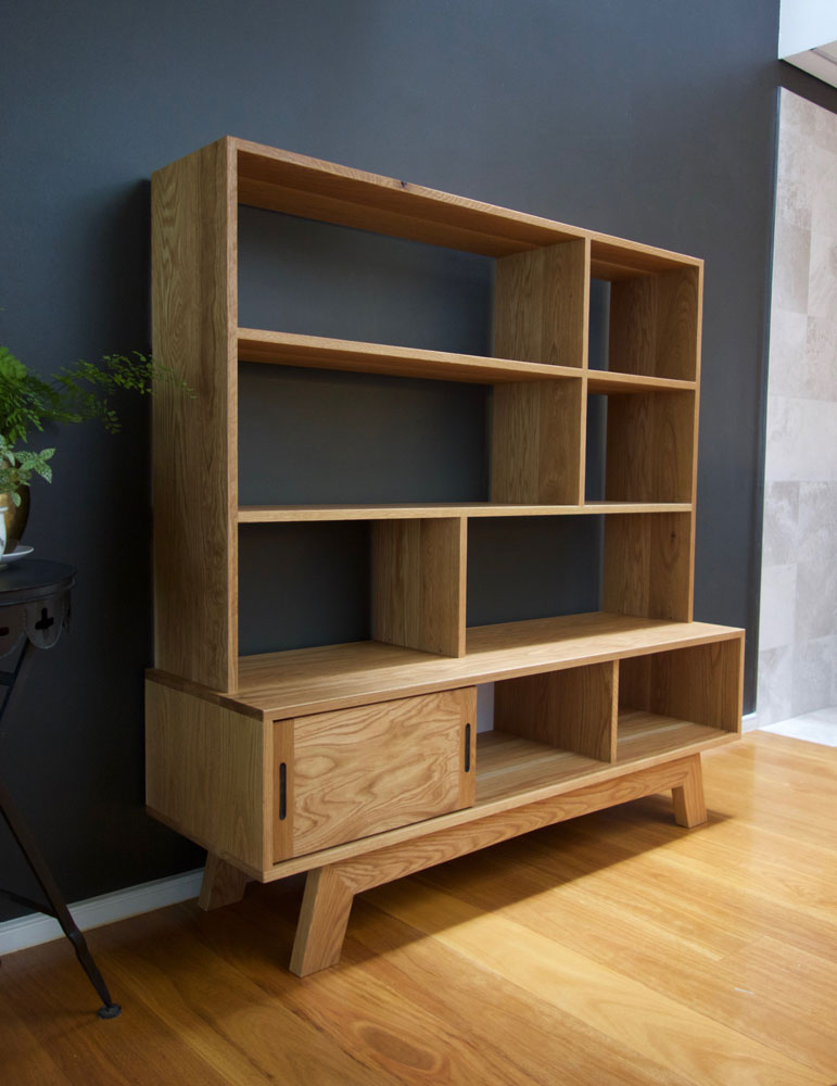 Jane's American oak cabinet and bookshelf combo