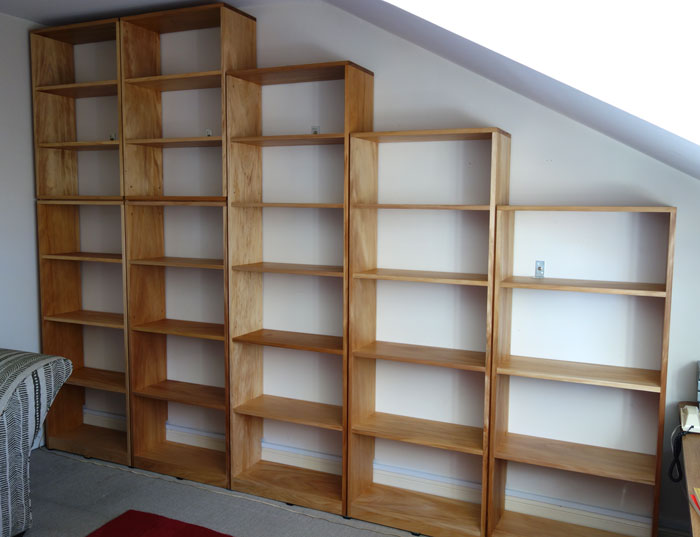 Custom made Kauri pine office shelves