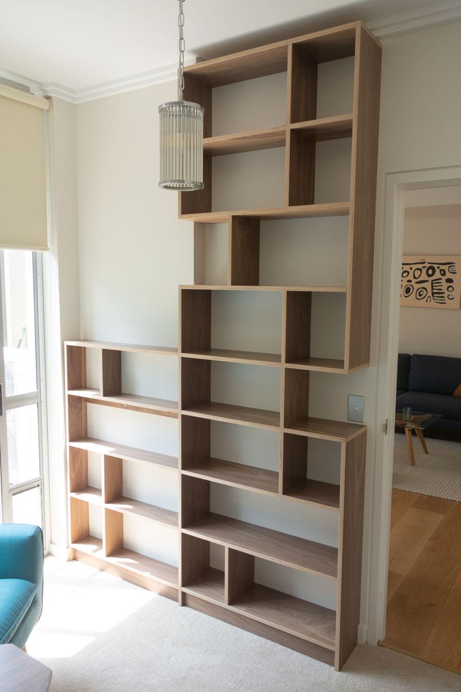 Birch ply bookshelf with walnut veneer