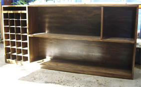Custom made bookshelves with wine storage section