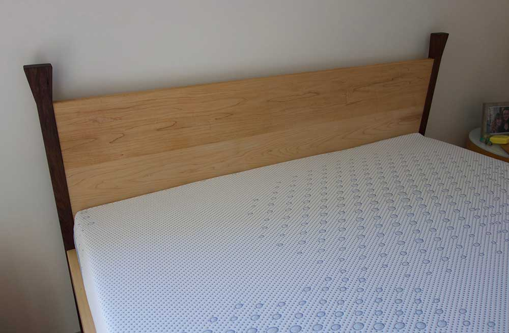Chris' blackwood and American maple bed, headboard detail