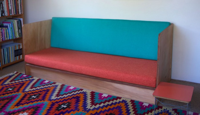 Custom made couch in kauri pine ply