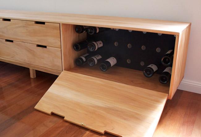 Custom made entertainment unit with wine storage