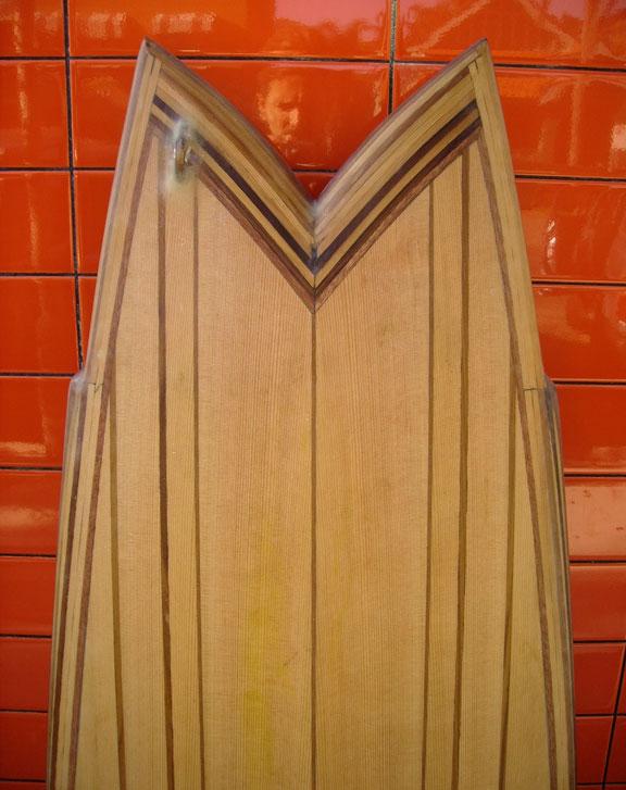 "5'7"" Fish in western red cedar – fin details"