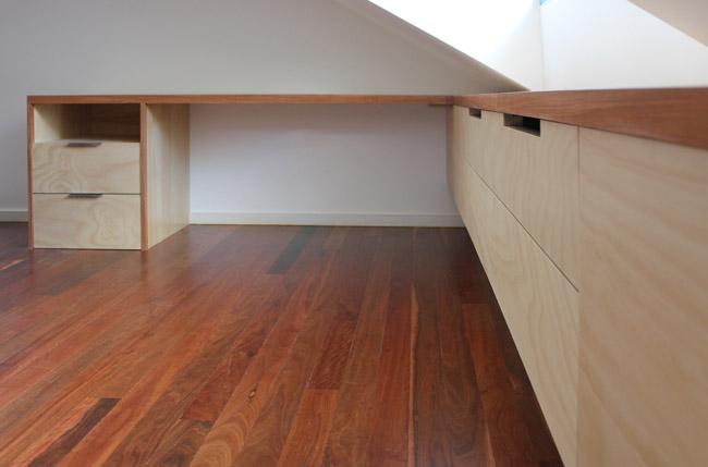 Grey bathroom designs - Built In Desk And Storage Sydney Nathaniel Grey