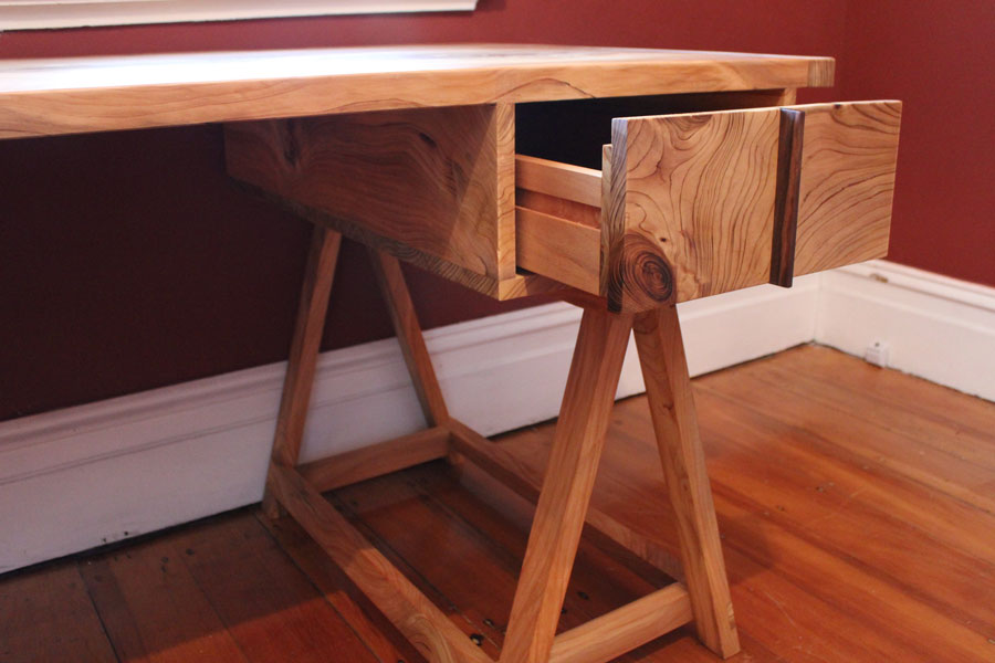 Custom made desk, Himalayan pine with queen ebony drawer handles, Danish oil and wax finish