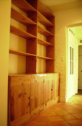 Custom made storage unit (cupboards and shelves), recycled oregon finished with Danish oil and then waxed