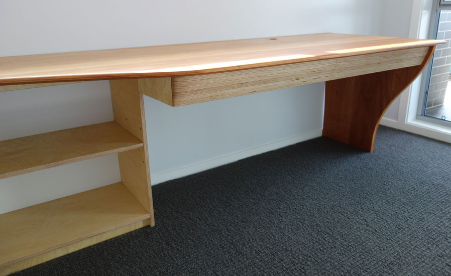 Birch ply and mahogany desk and shelves combination, drawer view