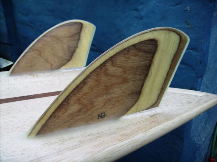 "5'9"" Twin Keel Fish, fin detail"