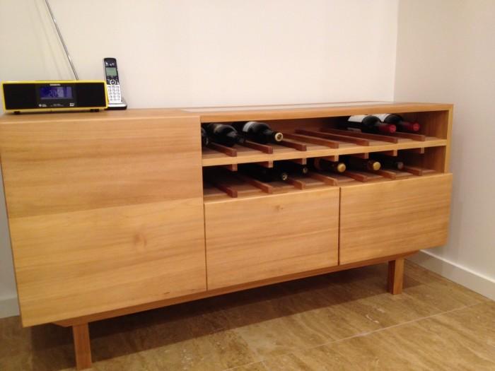 Custom made Kauri pine wine cabinet