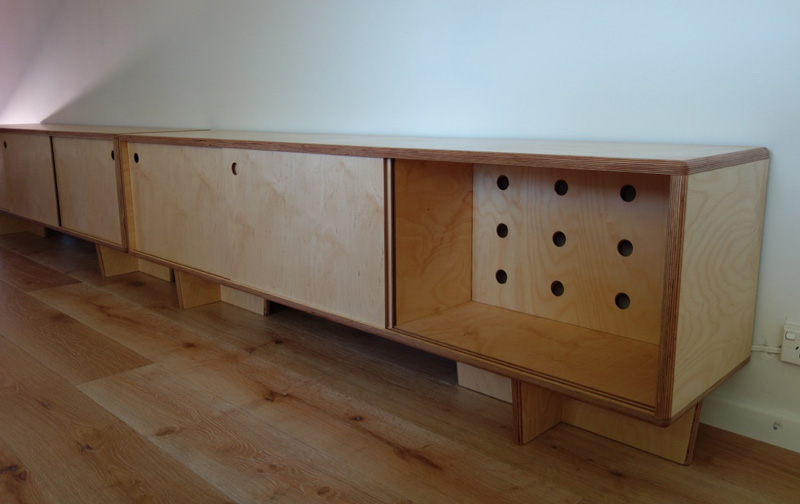 birch plywood cabinets, wine section
